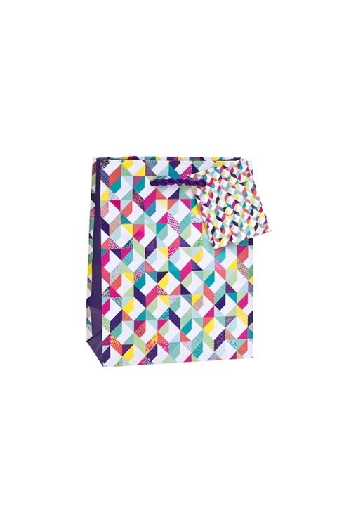 Пакет подарочный Красочная геометрияСувениры и упаковка<br>11.4*6.4*14.6см, бум., матовый, с декором<br>