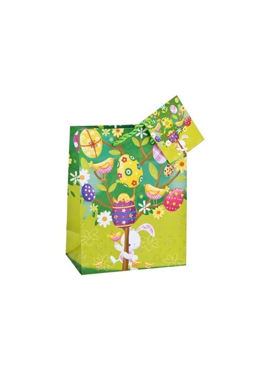 Пакет подарочный Пасхальный кроликПакеты на любой повод<br>11.4*6.4*14.6см, бум., матовый, с декором<br>
