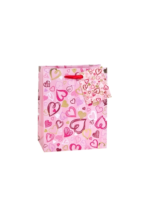 Пакет подарочный Сердечные безумстваПакеты про Любовь<br>11.4*6.4*14.6см, бум., матовый, с гор. тиснением<br>
