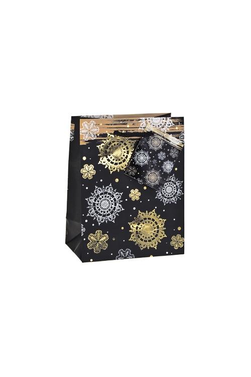 Пакет подарочный новогодний Ночной снегопадСувениры и упаковка<br>11.4*6.4*14.6см, бум., матовый, с гор. тиснением<br>