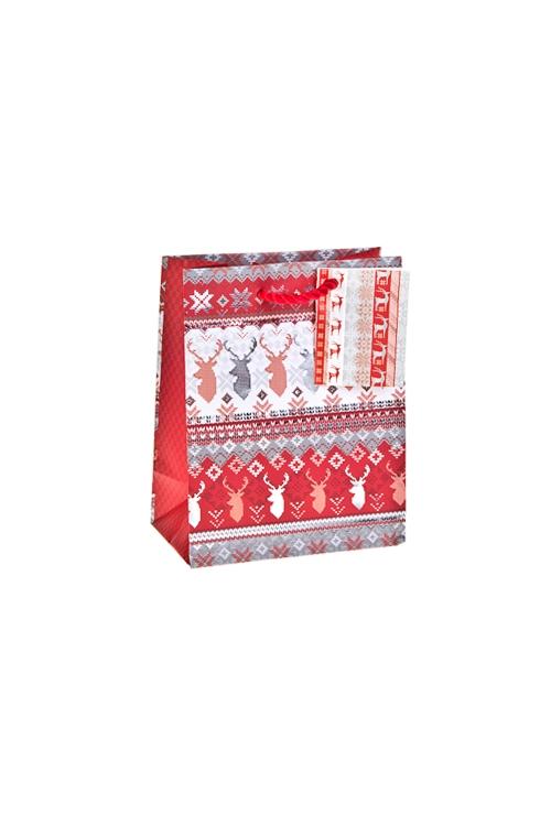Пакет подарочный новогодний Норвежский оленьСувениры и упаковка<br>11.4*6.4*14.6см, бум., матовый, с гор. тиснением<br>