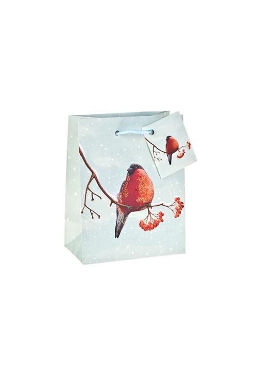 Пакет подарочный новогодний СнегирьПакеты «С Новым годом и Рождеством»<br>11.4*6.4*14.6см, бум., матовый, с декором<br>