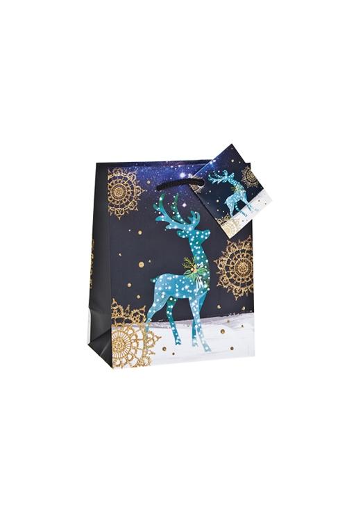 Пакет подарочный новогодний Чудный оленьСувениры и упаковка<br>11.4*6.4*14.6см, бум., матовый, с декором<br>