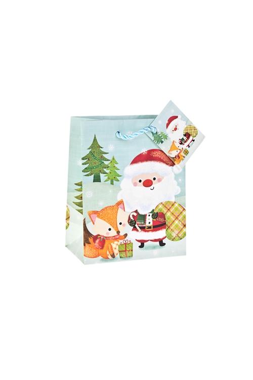 Пакет подарочный новогодний Дед Мороз с лисенкомСувениры и упаковка<br>11.4*6.4*14.6см, бум., матовый, с декором<br>