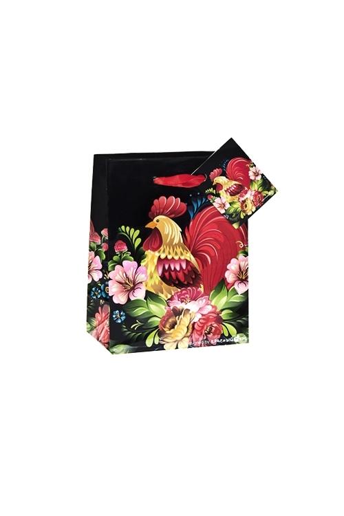 Пакет подарочный Сказочный петухСувениры и упаковка<br>11.4*6.4*14.6см, бум., глянцевый<br>