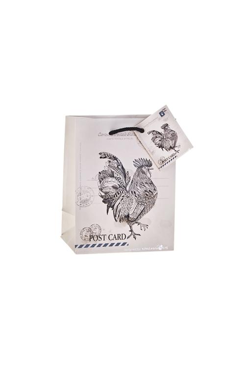 Пакет подарочный Счастливый петушокПакеты «С Новым годом и Рождеством»<br>11.4*6.4*14.6см, бум., матовый, с декором<br>