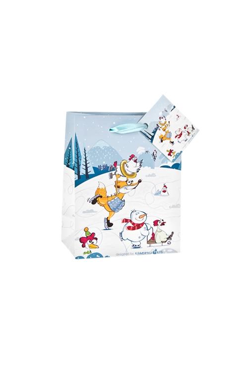 Пакет подарочный Куриные забавыПакеты «С Новым годом и Рождеством»<br>11.4*6.4*14.6см, бум., матовый, с декором<br>