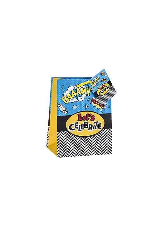 Пакет подарочный Поп-артПакеты на любой повод<br>11.4*6.4*14.6см, бум., матовый<br>