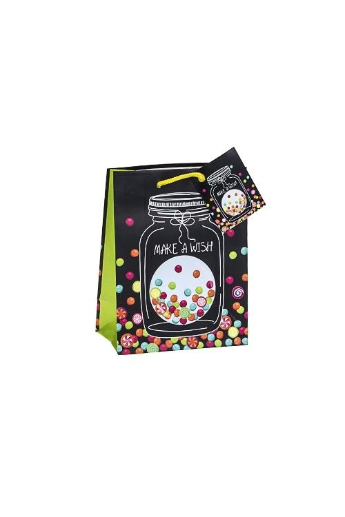 Пакет подарочный Желание в банкеСувениры и упаковка<br>11.4*6.4*14.6см, бум., матовый<br>