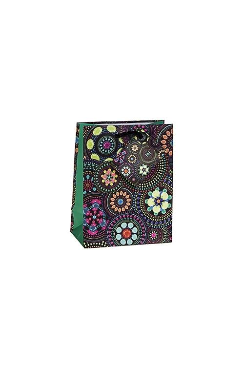 Пакет подарочный Цветочная мозаикаПакеты на любой повод<br>11.4*6.4*14.6см, бум., матовый<br>