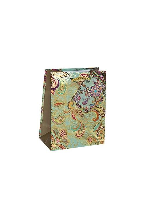 Пакет подарочный Восточные цветыПодарки на 8 марта<br>11.4*6.4*14.6см, бум., матовый, с горячим тиснением<br>