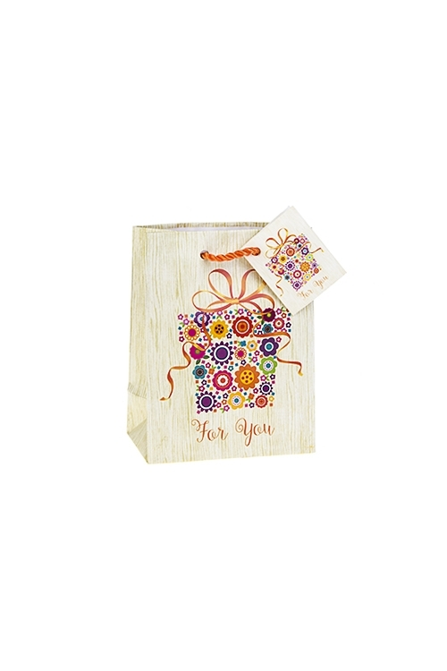Пакет подарочный Цветочный подарокСувениры и упаковка<br>11.4*6.4*14.6см, бум., матовый, с декором<br>