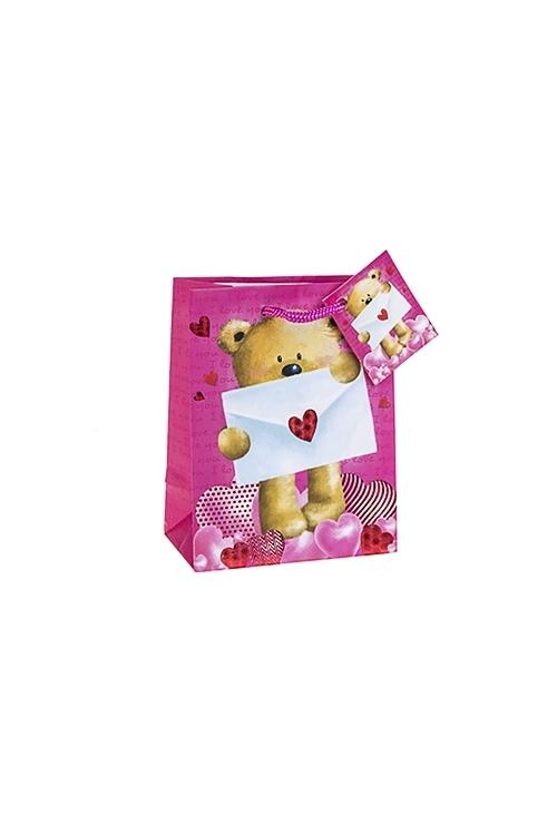 Пакет подарочный Послание от МишкиПакеты про Любовь<br>11.4*6.4*14.6см, бум., матовый, с горячим тиснением<br>