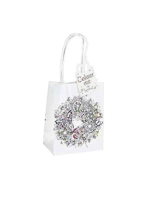 Пакет подарочный Венок из цветовСувениры и упаковка<br>11.4*6.4*14.6см, бум., матовый<br>
