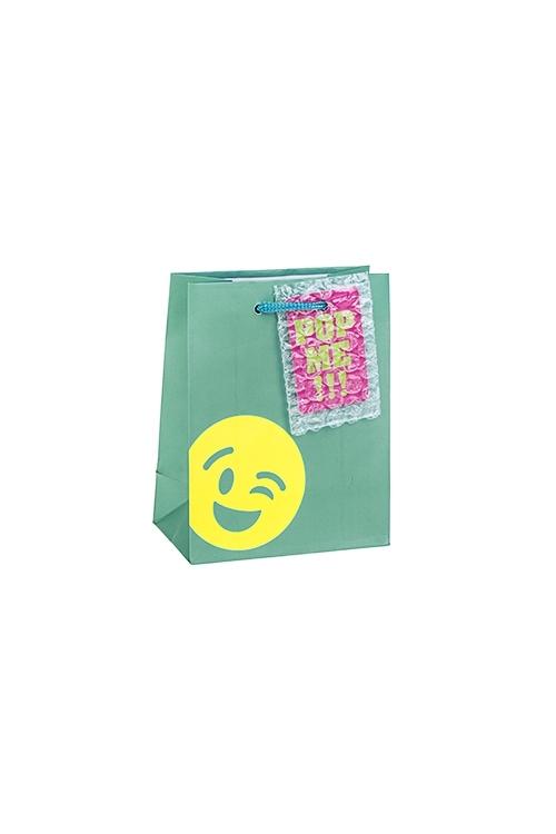 Пакет подарочный СмайликСувениры и упаковка<br>11.4*6.4*14.6см, бум., матовый, с декором<br>