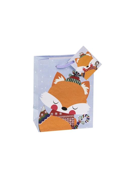 Пакет подарочный новогодний ЛисенокСувениры и упаковка<br>11.4*6.4*14.6см, бум., матовый, с гор. тиснением<br>
