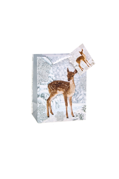 Пакет подарочный новогодний Олененок в лесуПакеты «С Новым годом и Рождеством»<br>11.4*6.4*14.6см, бум., матовый, с декором<br>