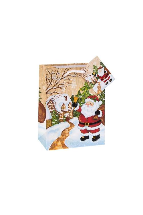 Пакет подарочный новогодний Дед Мороз с колокольчикомПакеты «С Новым годом и Рождеством»<br>11.4*6.4*14.6см, бум., матовый, с декором<br>