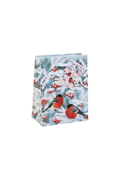 Пакет подарочный новогодний Волшебные снегириСувениры и упаковка<br>11.4*6.4*14.6см, бум., матовый, с декором<br>