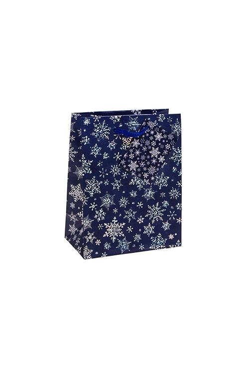 Пакет подарочный новогодний Сияющие снежинкиСувениры и упаковка<br>11.4*6.4*14.6см, бум., матовый, с гор. тиснением<br>