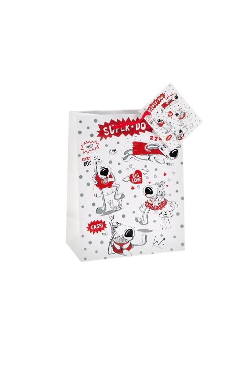 Пакет подарочный СуперпесСувениры и упаковка<br>11.4*6.4*14.6см, бум., с декором<br>