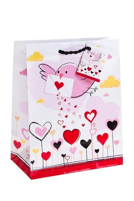Пакет подарочный Письмо счастьяПакеты про Любовь<br>18*10*22.7см, бум.<br>