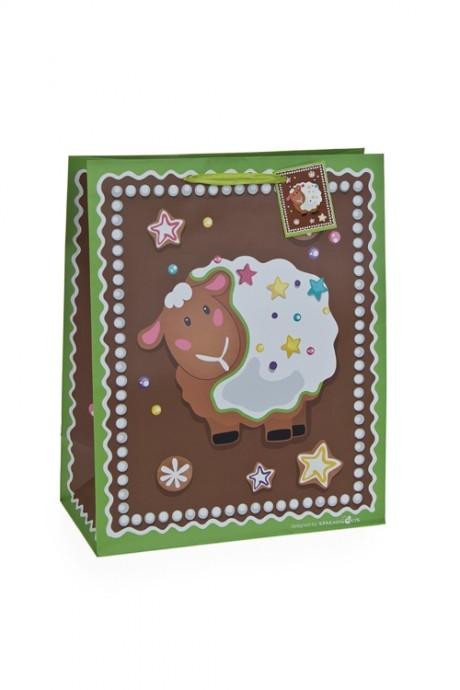 Пакет подарочный Пряничная овечкаНовогодние пакеты и коробки<br>18*10*22.7см, бум., матовый, с декором<br>