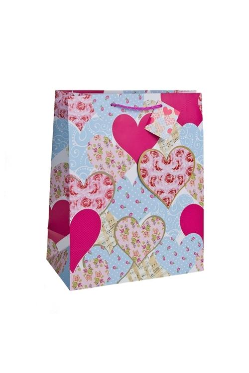 Пакет подарочный Розы в сердцахСувениры и упаковка<br>18*10*22.7см, бум., с декором, матовый<br>