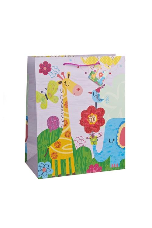 Пакет подарочный Веселые зверятаСувениры и упаковка<br>18*10*22.7см, бум., с декором, матовый<br>