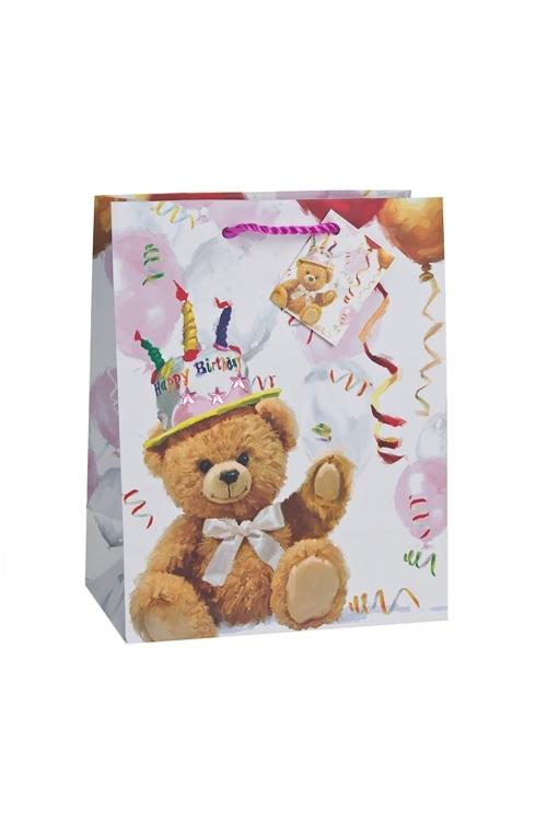 Пакет подарочный Поздравление от мишкиСувениры и упаковка<br>18*10*22.7см, бум., с декором, матовый<br>