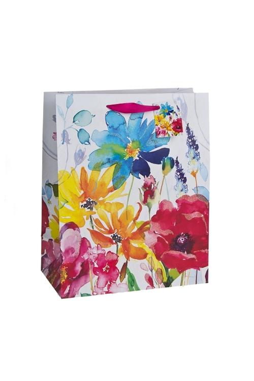 Пакет подарочный Луговые цветыСувениры и упаковка<br>18*10*22.7см, бум., с декором, матовый<br>