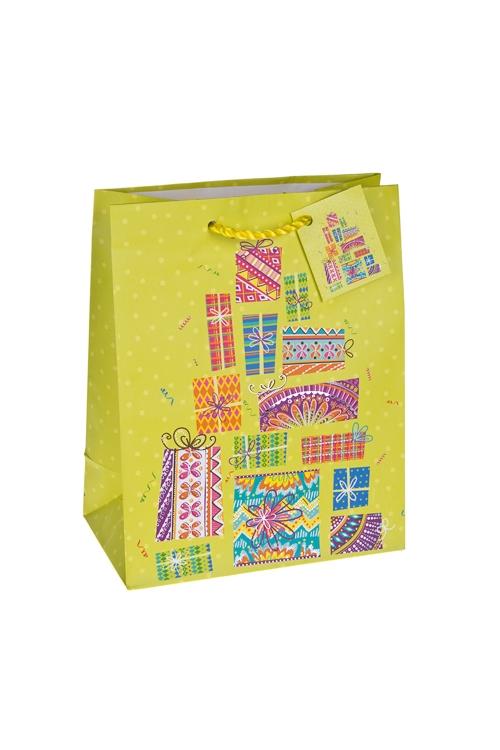Пакет подарочный Изобилие подарковСувениры и упаковка<br>18*10*22.7см, бум., матовый, с гор. тиснением<br>