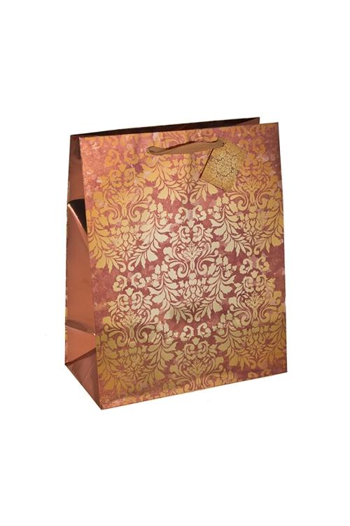 Пакет подарочный Золотой узорПодарочные пакеты<br>18*10*22.7см, бум., глянцевый<br>