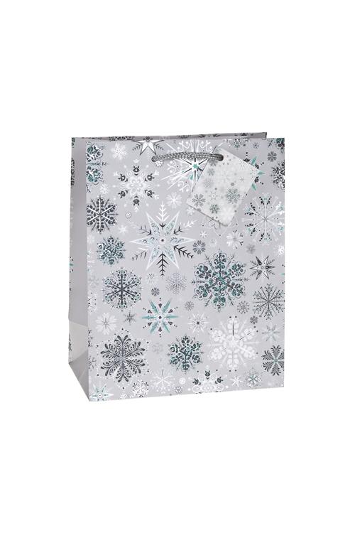 Пакет подарочный новогодний Ледяные кристалликиСувениры и упаковка<br>18*10*22.7см, бум., матовый, с гор. тиснением<br>