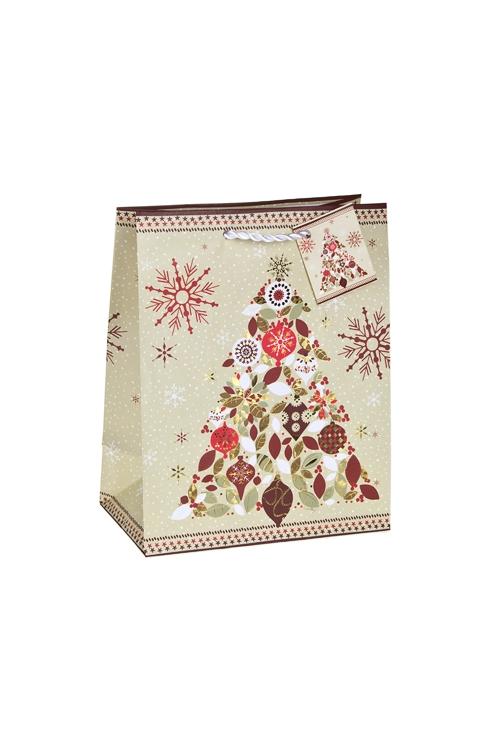 Пакет подарочный новогодний Нарядная елочкаСувениры и упаковка<br>18*10*22.7см, бум., матовый, с гор. тиснением<br>