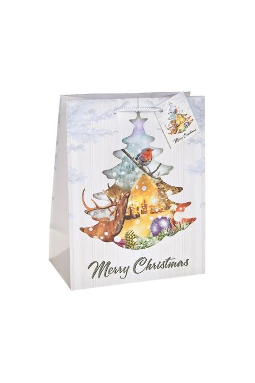 Пакет подарочный новогодний На опушке лесаСувениры и упаковка<br>18*10*22.7см, бум., матовый, с декором<br>