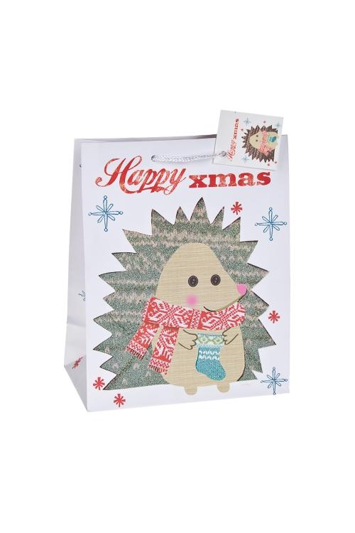 Пакет подарочный новогодний Ежик в шарфикеСувениры и упаковка<br>18*10*22см, бум., матовый, с декором<br>