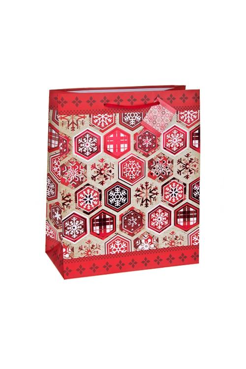 Пакет подарочный новогодний Алые снежинкиСувениры и упаковка<br>18*10*22.7см, бум., матовый, с гор. тиснением<br>