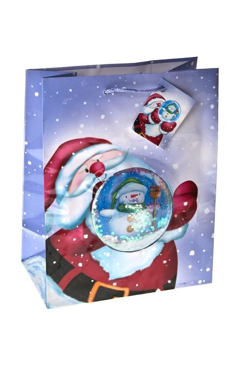 """Пакет подарочный новогодний """"Снеговик в шаре"""" - 1"""