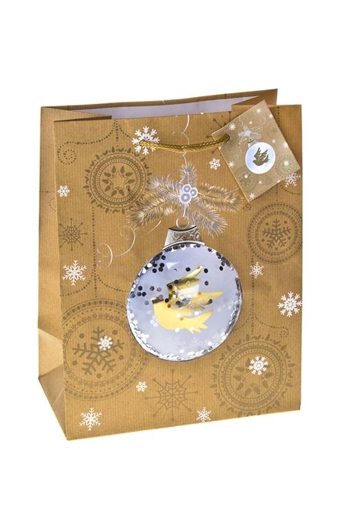 Пакет подарочный новогодний Снежная птицаСувениры и упаковка<br>18*10*22.7см, бум., матовый, с декором<br>