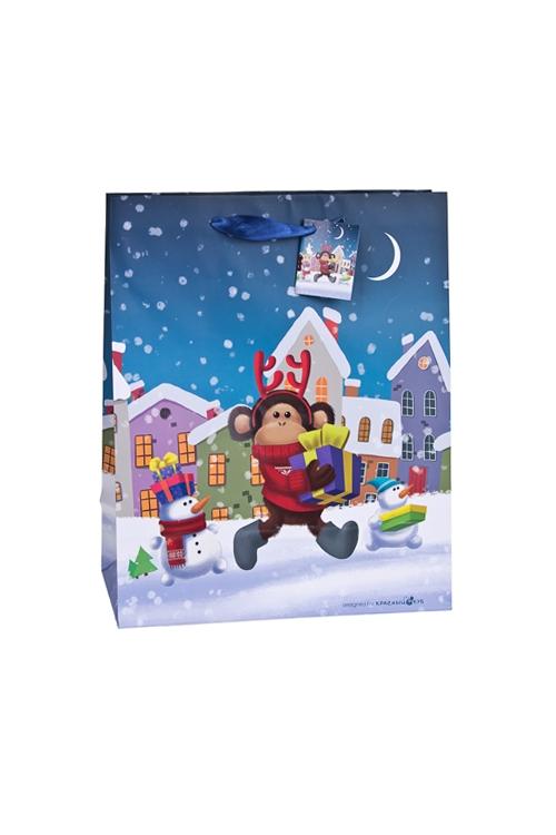 Пакет подарочный Норвежская обезьянка с подаркомСувениры и упаковка<br>18*10*22.7см, бум., матовый, с декором<br>