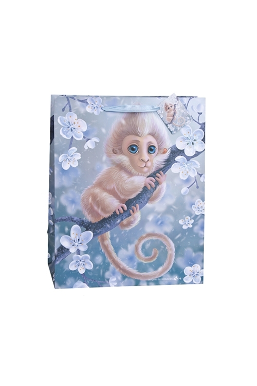 Пакет подарочный Волшебная обезьянкаПодарочные пакеты<br>18*10*22.7см, бум., матовый, с декором<br>
