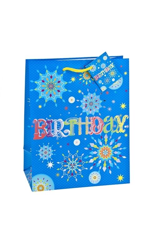 Пакет подарочный Фейерверк для именинникаСувениры и упаковка<br>18*10*22.7см, бум., матовый, с гор. тиснением<br>