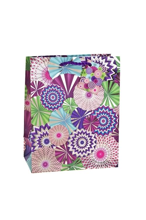 Пакет подарочный Цветочный салютСувениры и упаковка<br>18*10*22.7см, бум., матовый, с гор. тиснением<br>