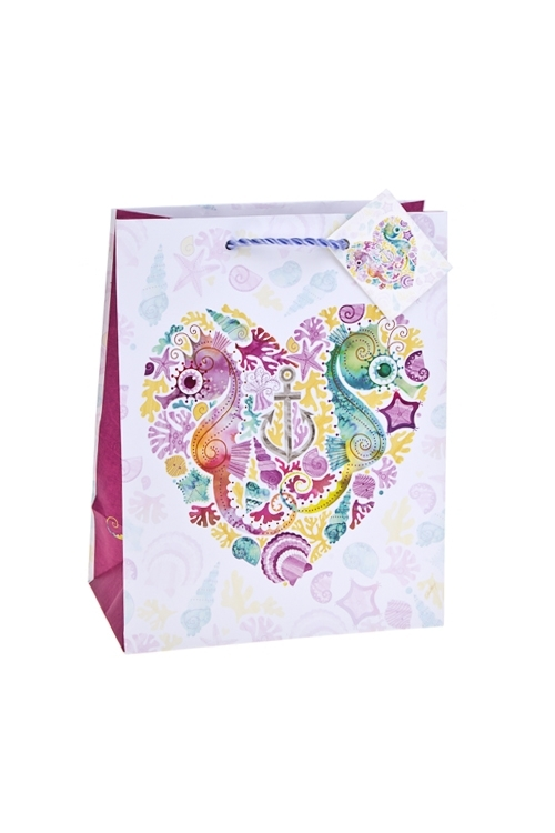 Пакет подарочный На дне морскомПакеты про Любовь<br>18*10*22.7см, бум., матовый, с декором<br>