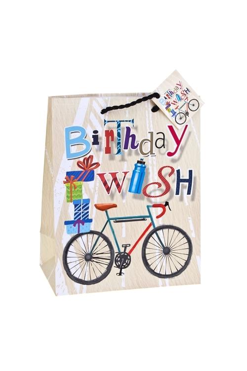 Пакет подарочный Заветное желаниеПакеты «С Днем рождения»<br>18*10*22.7см, бум., матовый, с декором<br>