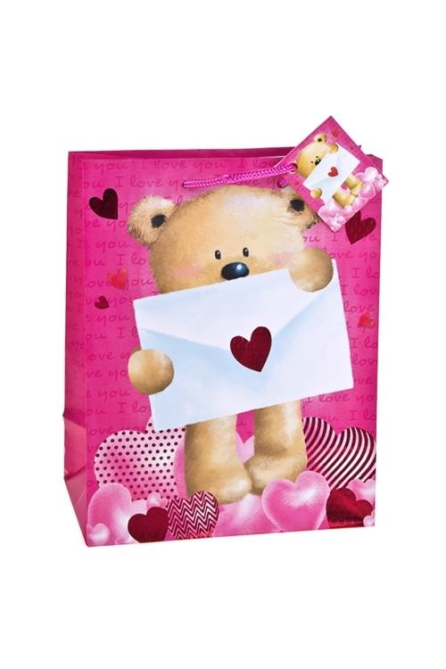 Пакет подарочный Послание от МишкиПакеты про Любовь<br>18*10*22.7см, бум., матовый, с гор. тиснением<br>