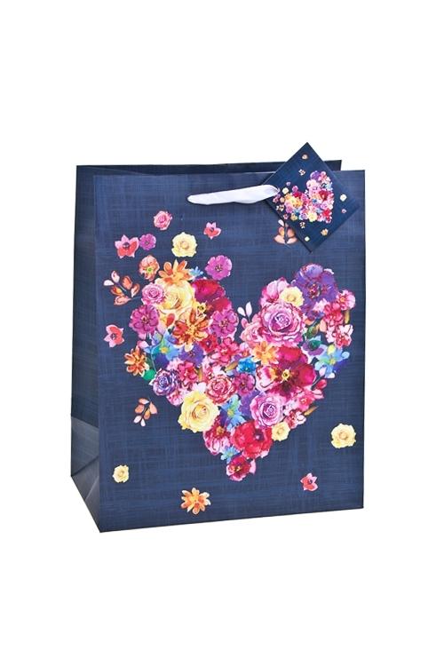 Пакет подарочный Расцвет любвиСувениры и упаковка<br>18*10*22.7см, бум., матовый, с декором<br>