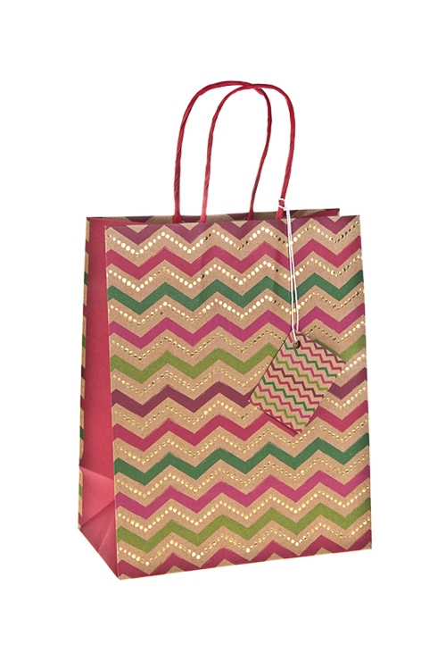 Пакет подарочный Зигзаг удачиСувениры и упаковка<br>18*10*22.7см, бум., матовый, с гор. тиснением<br>