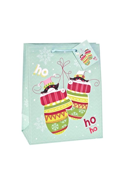 Пакет подарочный новогодний Пингвины в варежкахПакеты «С Новым годом и Рождеством»<br>18*10*22.7см, бум., матовый, с декором<br>